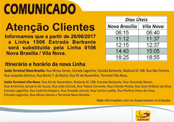 Nova Linha 106 - Nova Brasília/ Vila Nova