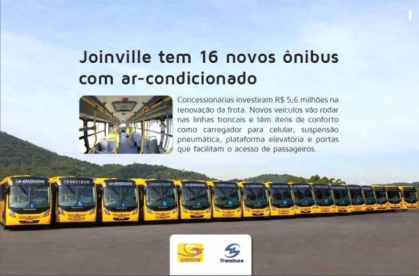 Joinville tem 16 novos ônibus com ar-condicionado e carregador de celular
