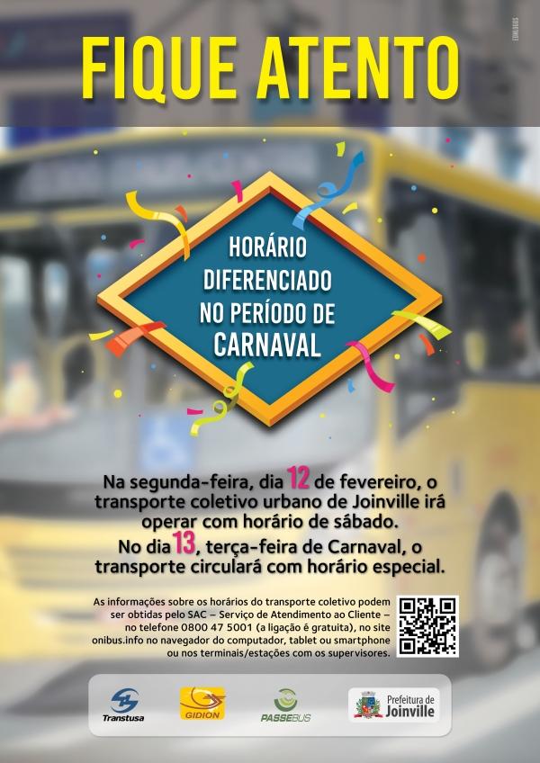 Horários Diferenciados de Carnaval - 12 e 13 de Fevereiro