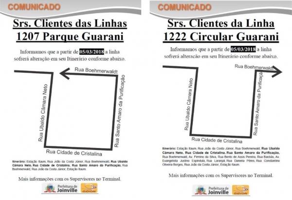 Alteração nas linhas 1207 - Parque Guarani e 1222 - Circular Guarani