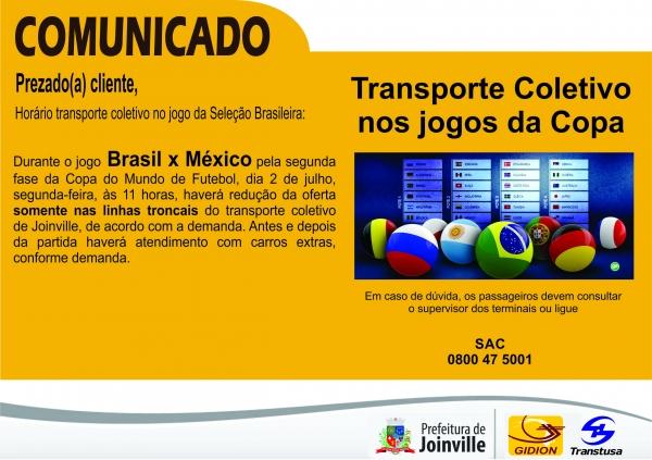 Horários ônibus durante Jogo Brasil x México