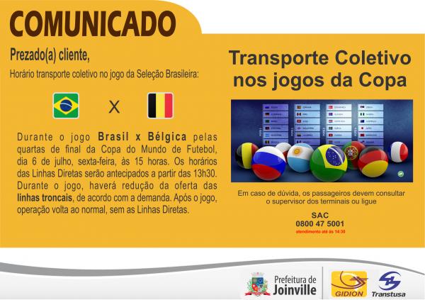 Horários ônibus durante Jogo Brasil x Bélgica