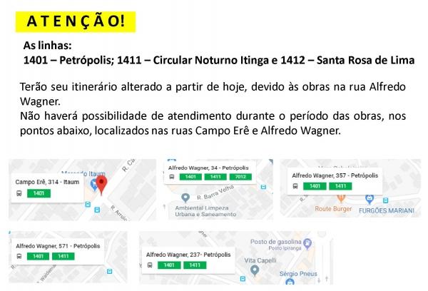 ATENÇÃO! Obras ruas Campo Erê e Alfredo Wagner