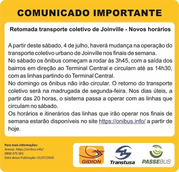 Mudanças no transporte coletivo de Joinville a partir de 04/07/2020!