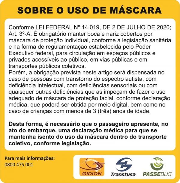 Comunicado sobre o uso da máscara no transporte coletivo!