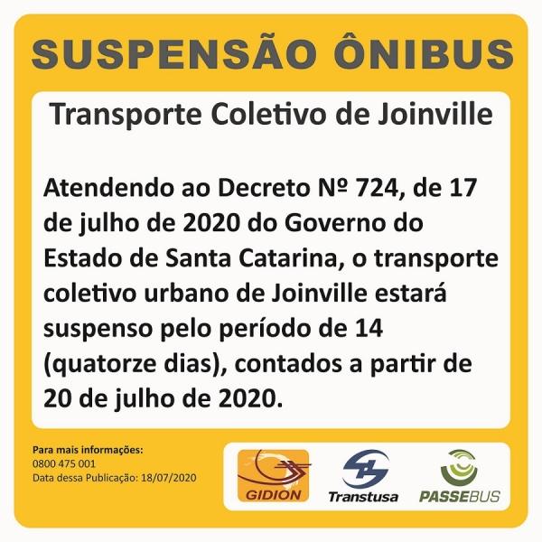 Suspensão transporte coletivo em Joinville