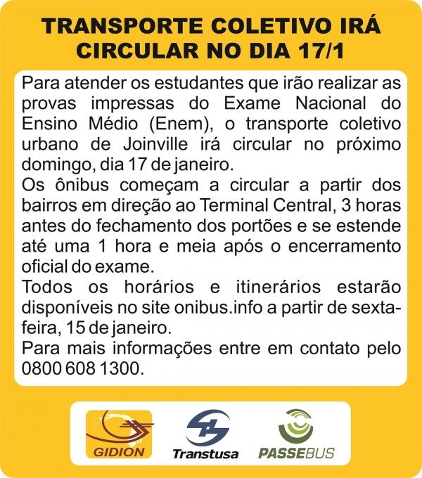 Linhas em circulação domingo - 17/1 - ENEM