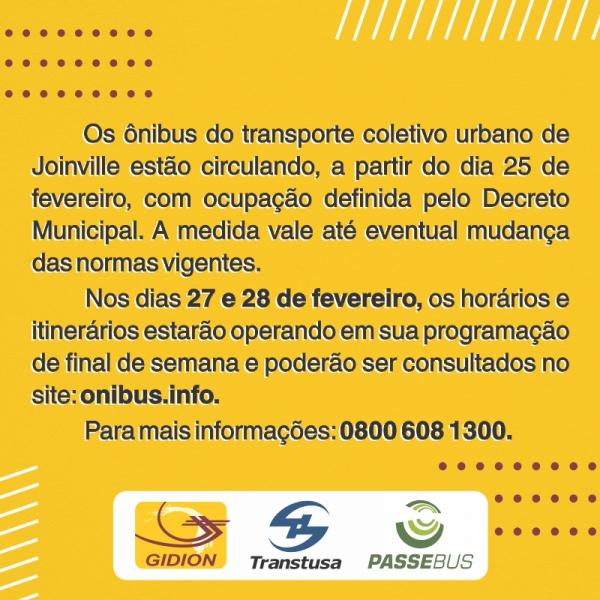 Transporte Coletivo em Joinville a partir de 25 de fevereiro