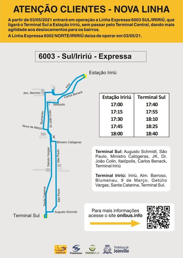 Nova Linha Expressa a partir de 3 de maio - 6003 SUL/IRIRIÚ