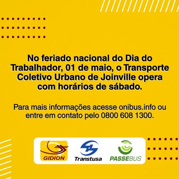 Transporte Coletivo em Joinville no feriado de 1º de Maio