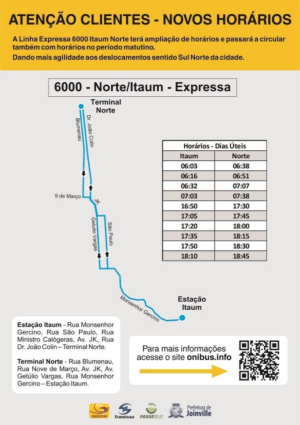 Linha Expressa 6000 Norte/Itaum terá ampliação de horário a partir de 14 de junho